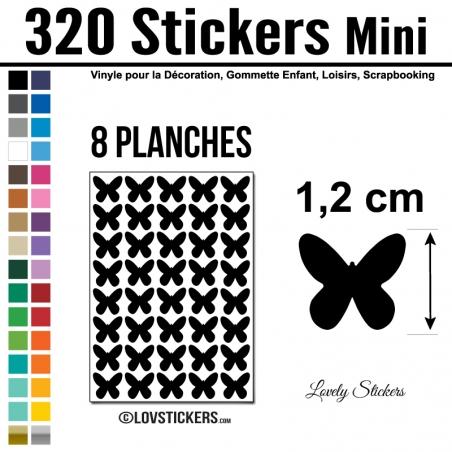 320 Stickers Papillon 1,2cm - Décoration Gommette Loisirs - Repositionnable