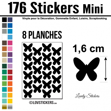 176 Stickers Papillon 1,6cm - Décoration Gommette Loisirs - Repositionnable