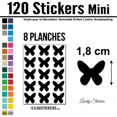 120 Stickers Papillon 1,8cm - Décoration Gommette Loisirs - Vinyle Repositionnable