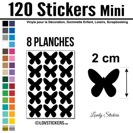 120 Stickers Papillon 2cm - Décoration Gommette Loisirs - Repositionnable