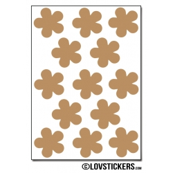 104 Stickers Fleur 2 cm - Décoration Gommette Loisirs - Vinyle Repositionnable