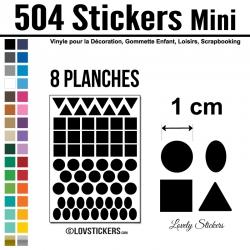 504 Stickers Mixte 1cm - Décoration Gommette Loisirs - Repositionnable
