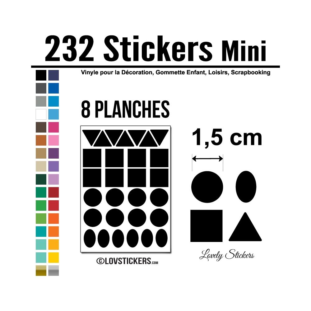 232 Stickers Mixte 1,5cm - Décoration Gommette Loisirs - Vinyle Repositionnable