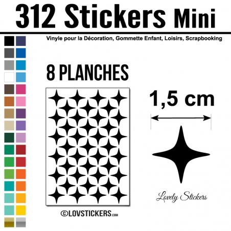 312 Stickers Etoiles 1,5cm - Décoration Gommette Loisirs - Repositionnable