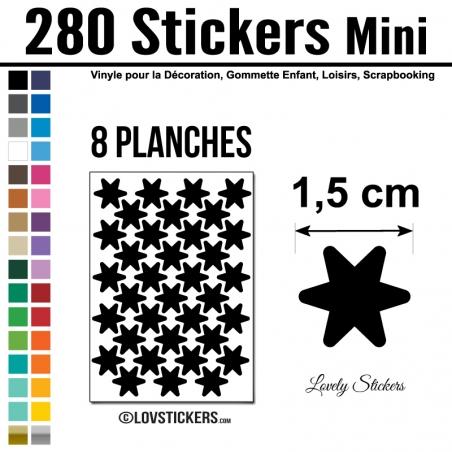 280 Stickers Etoiles 1,5cm - Décoration Gommette Loisirs - Repositionnable
