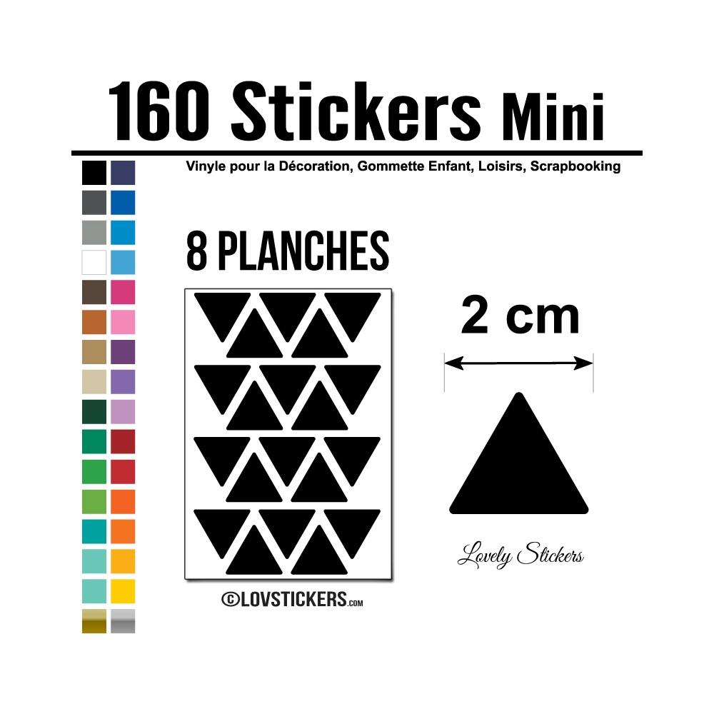 160 Triangles 2 cm - Gommette Triangle Deco Repositionnable en Vinyle