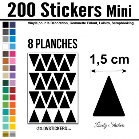 200 Triangles 1,5 cm - Modèle No2 - Gommette Triangle Deco Repositionnable en Vinyle