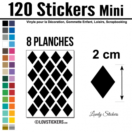 120 Stickers Losange 2 cm - Décoration Gommette Loisirs - Repositionnable