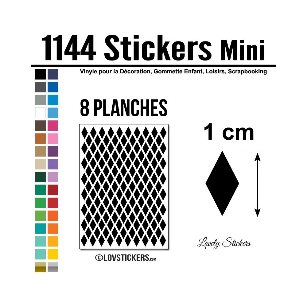 1144 Stickers Losange 1cm - Décoration Gommette Loisirs - Vinyle Repositionnable