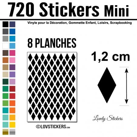 720 Stickers Losange 1,2cm - Décoration Gommette Loisirs - Repositionnable