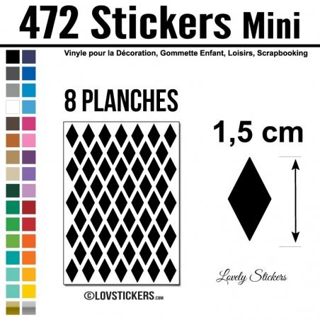 472 Stickers Losange 1,5 cm - Décoration Gommette Loisirs - Repositionnable