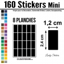 160 Stickers Rectangle 1,2 cm - Décoration Gommette Loisirs - Vinyle Repositionnable