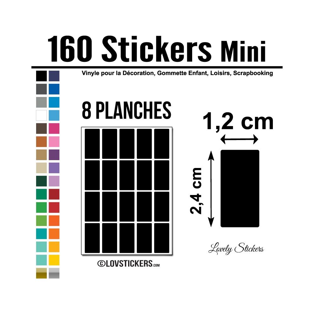 160 Stickers Rectangle 1,2 cm - Décoration Gommette Loisirs - Vinyle Repositionnable