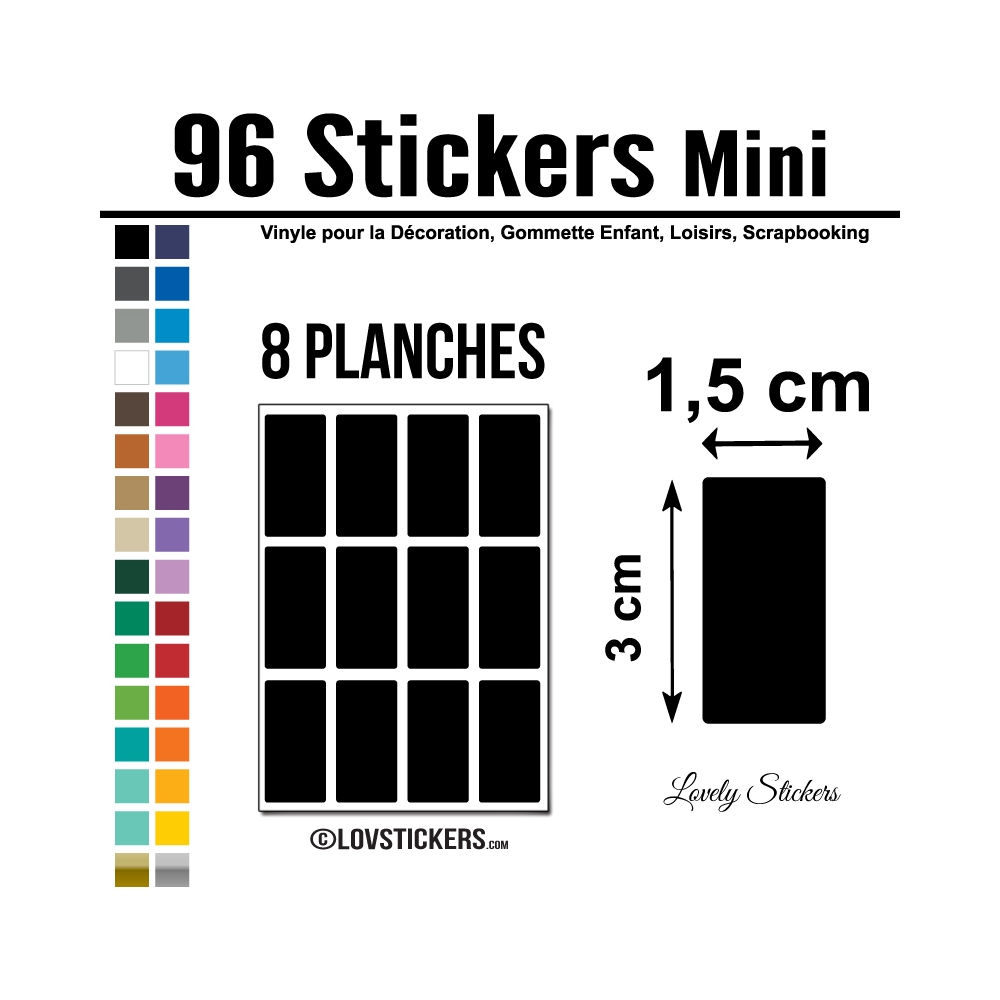 96 Stickers Rectangle 1,5 cm - Décoration Gommette Loisirs - Vinyle Repositionnable