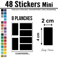 48 Stickers Rectangle 2 cm - Décoration Gommette Loisirs - Vinyle Repositionnable