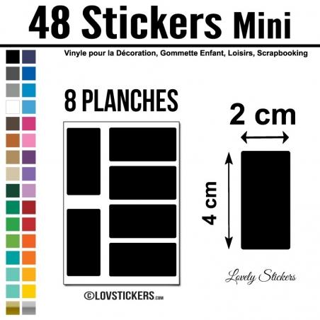 48 Stickers Rectangle 2 cm - Décoration Gommette Loisirs - Vinyle Repositionnable