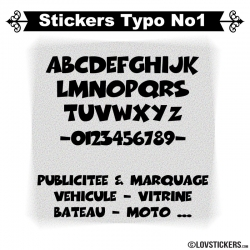 Font Boog - Stickers lettres et chiffres adhesif  - Autocollant voiture auto vitrine magasin