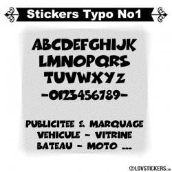 Font Boog - Stickers lettres et chiffres adhesif  - Autocollant voiture auto vitrine magasin