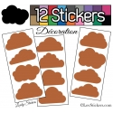 12 Stickers Nuage Mixte - Autocollant Décoration Intérieur